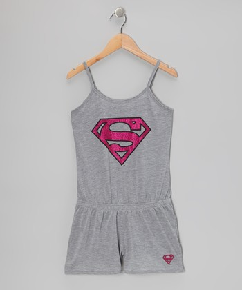 Heather Gray Supergirl Romper Pajamas - Girls