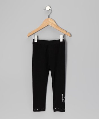 Black Initial Leggings - Infant, Toddler & Girls