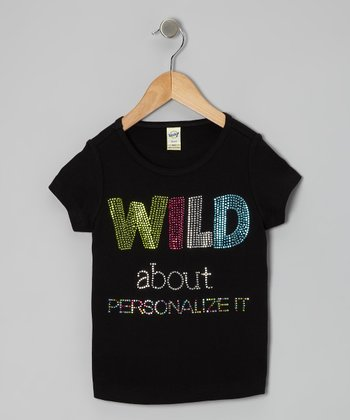 Black 'Wild About' Personalized Tee - Toddler & Girls