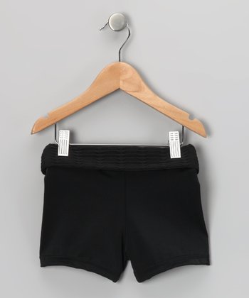 Black Fold-Over Active Shorts - Girls