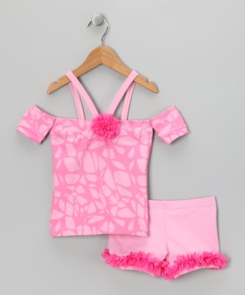 Pink Ruffle Open-Shoulder Top & Shorts - Girls