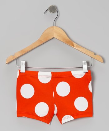 Orange Polka Dot Dance Shorts - Toddler & Girls