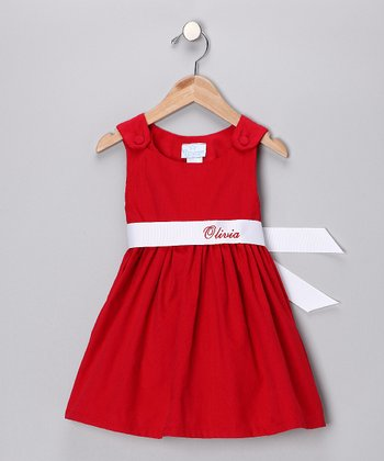 Red & White Personalized Sash Jumper - Infant, Toddler & Girls