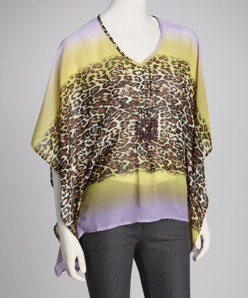 Purple & Yellow Dolman Animal Top
