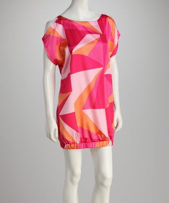 Fuchsia & Pink Abstract Dress
