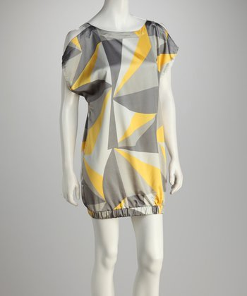 Yellow & Gray Abstract Dress