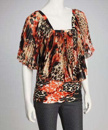 Orange Dolman Animal Top
