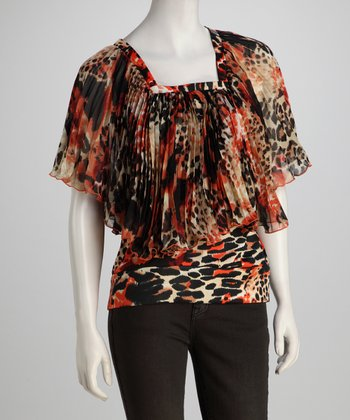 Madison Paige Orange & Black Safari Angel-Sleeve Top