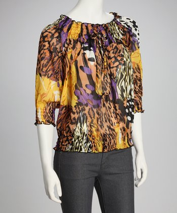 Yellow & Purple Animal Top