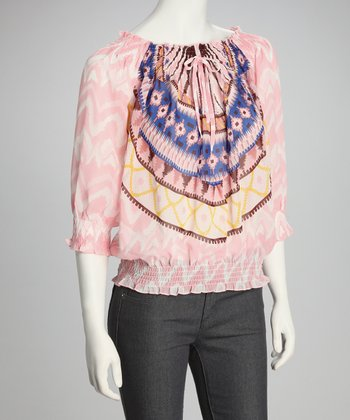 Pink & Yellow Shirred Top