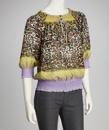 Purple & Yellow Shirred Animal Top