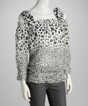 Black & White Polka Dot Chiffon Top