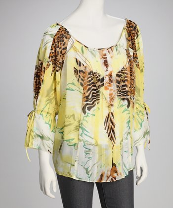 Yellow & White Animal Top