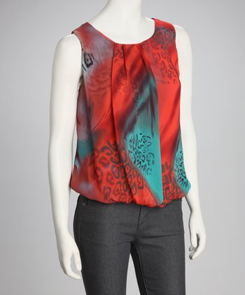 Teal & Red Sleeveless Top