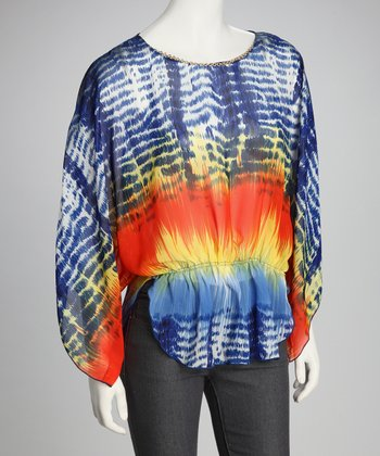 Blue & Yellow Dolman Top