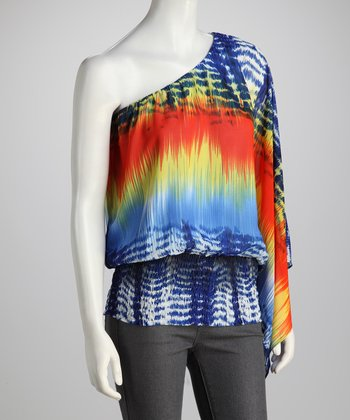 Blue & Red Tie-Dye Asymmetrical Top