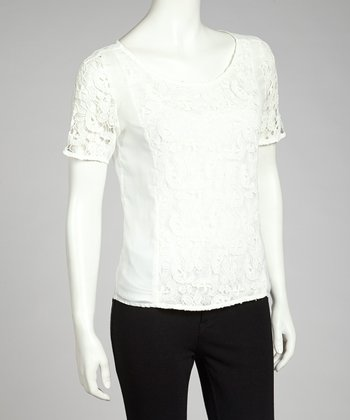 Off-White Lace Panel Top