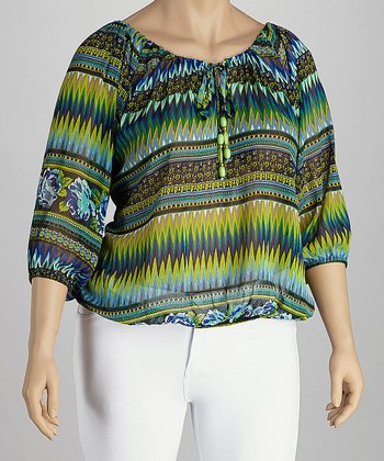 Blue & Green Beaded Peasant Top - Plus