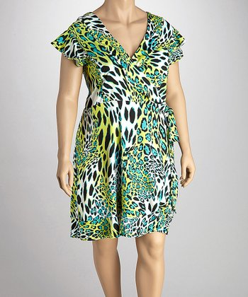 Green & Black Safari Wrap Dress - Plus
