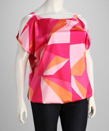 Fuchsia & Pink Geometric Plus-Size Top