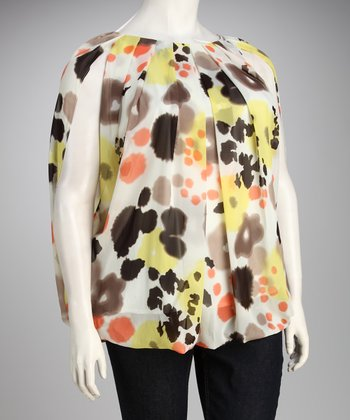 Madison Paige Yellow & Red Spotted Plus-Size Top