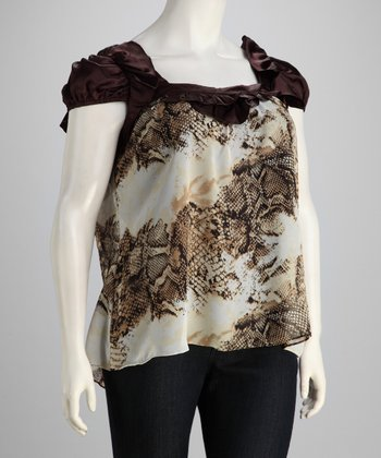 Brown & Ivory Cap-Sleeve Top - Plus
