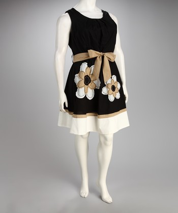 Black & Gold Daisies Sleeveless Dress - Plus