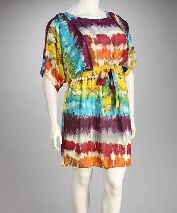 Madison Paige Yellow & Purple Tie-Dye Plus-Size Cape-Sleeve Dress