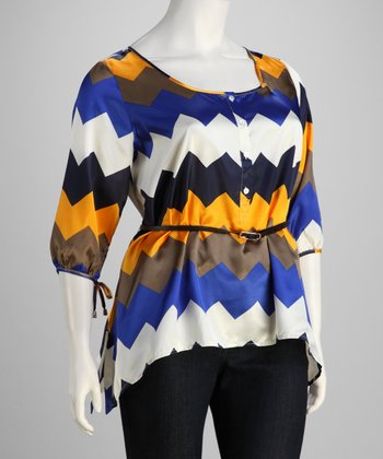 Blue & Yellow Zigzag Plus-Size Tunic