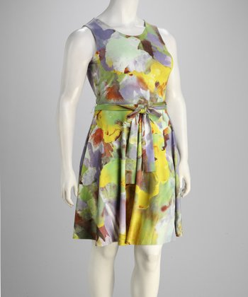 Lavender & Yellow Tie-Waist Dress - Plus