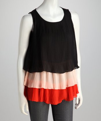 Black & Red Pleated Top