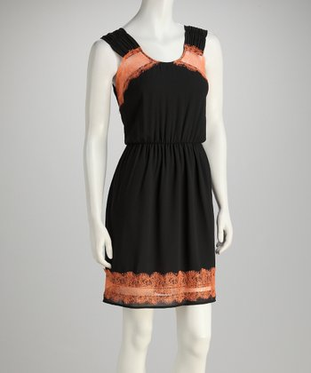 Black & Orange Lace Detail Dress