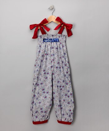 Blue Floral Romper - Toddler & Girls