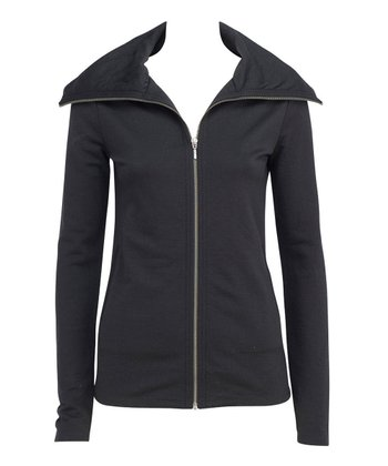 Black Portsea Merino Wool Zip-Up Jacket - Women