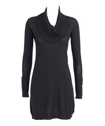 Black Silversand Merino Wool Sweater Dress - Women