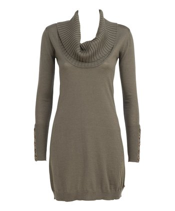 Olive Silversand Merino Wool Sweater Dress - Women