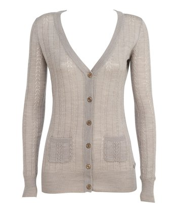 Tan Pacific Palms Merino Wool Cardigan - Women