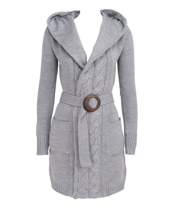 Gray Daydream Merino Wool Hooded Duster - Women
