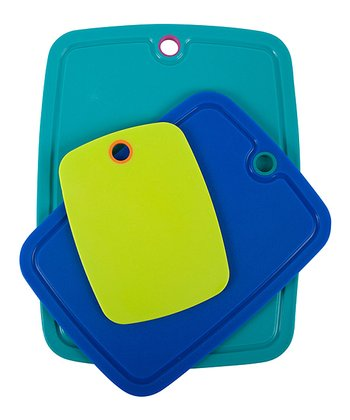 Azure & Teal Grip Strip Three-Piece Cutting Board Set
