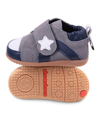 Navy & Gray Star Smiley Sneaker