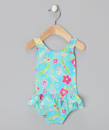 Aqua Dotty Daisy Ruffle One-Piece