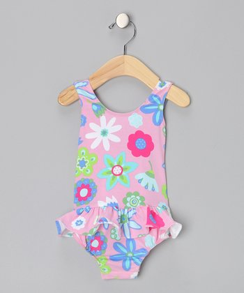 Pink Floral Ruffle One-Piece - Infant