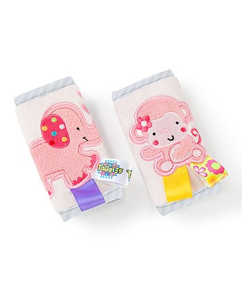 Pink Elephant & Monkey Strap Cover Set