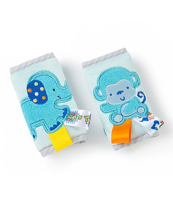 Blue Elephant & Monkey Strap Cover Set