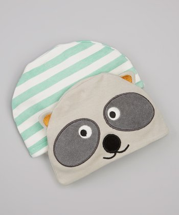 Raccoon & Green Stripe Beanie Set