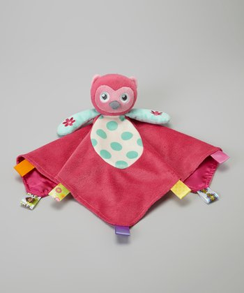 Pink Owl Plush Security Blanket