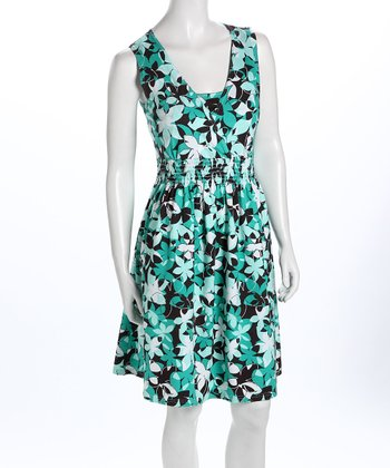 Green Floral V-Neck Nursing Dress