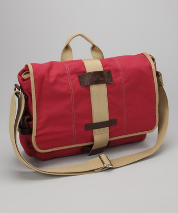 Red Canvas Laptop Messenger Bag
