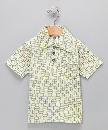 Kate Quinn Organics Green Square Vintage Collar Organic Tee - Infant & Boys