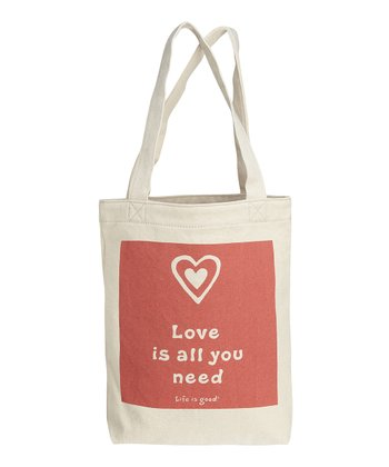 Sunset Coral Heart Stamp Simple Canvas Tote